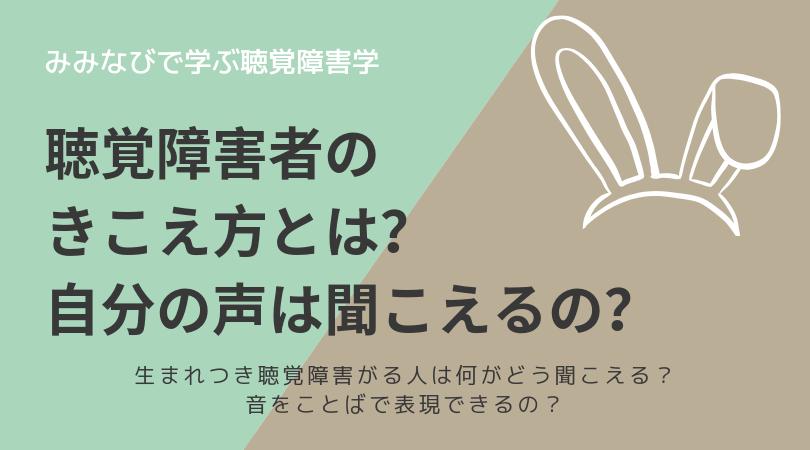 【解説】聴覚障害者の聞こえ方とは?自分の声は聞こえるの?